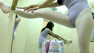Naughty voyeur finds a cute Asian ballerina with a perky ass
