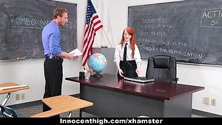 InnocentHigh - Cute Redhead Student Fucks Drama Teacher