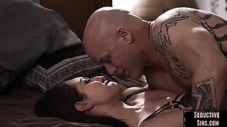 Busty nympho sucks and jerks off before couple fucking