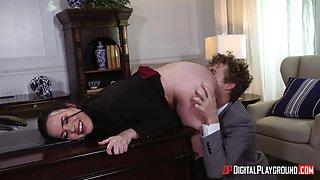 Office fucking on the table with brunette secretary Dana Dearmond