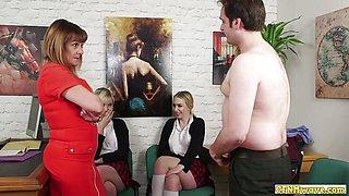 Dirty CFNM schoolgirls jerking lucky cock