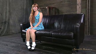 Innocent red-haired chic Claire Robbins gets a gallon of cum in her mouth