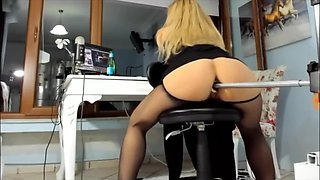 Gorgeous Blonde Pantyhose Ass, Fuck Machine Pussy Squirt