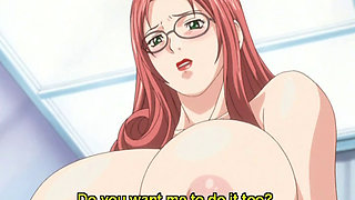Huge tits anime redhead riding stiff cock