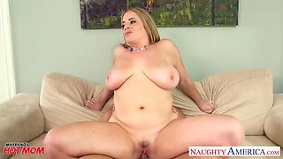 Ample breasted friend's mommy Maggie Green gives her head and allows to penetrate wet pussy
