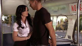 Young lad fucks this busty angel in a bus and she loves it
