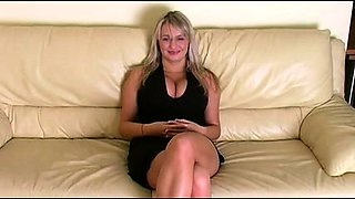 Exciting blonde milf with big natural tits rides a hard cock