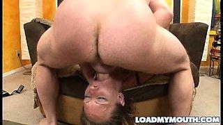 Debi Diamond blows a big bone before swallowing down a