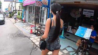 Thai teen teases boyfriend by fingering her bald pussy