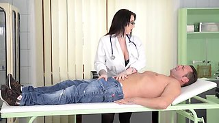 Gorgeous brunette, Harmony Reigns is working as a doctor and often getting fucked while at work