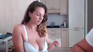 chubby girl gets drilled in the kitchen