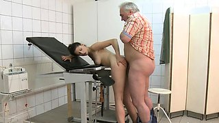 Sexy playgirl and a horny doctor are playing a messy game