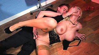 Wonderful office tryout for blonde Kayla Green