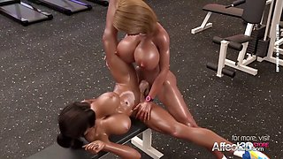 Big tits futanari babes having sex in a gym