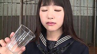 Thats a mouthfull! Gokkun teen swallow