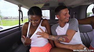 Bang bus ebony porn on white dude's massive dick