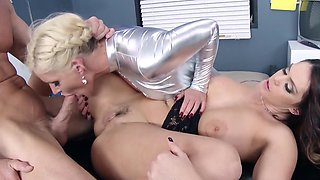 Busty nurse and her colleague have fun with blonde star