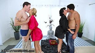 Cougar masseuses Alexis Fawx and Veronica Avluv are fucked by two horny men