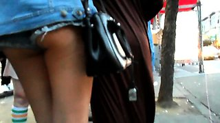 Hot amateur babes with magnificent asses upskirt in public