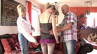 Very old mom teaching teen in family threesome