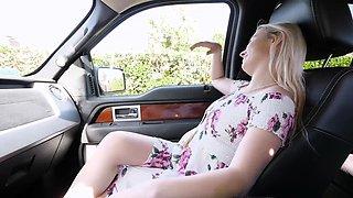 Stepsister Aria Banks masturbates and sucks cock in car