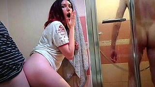 Wife cheats on her husband while he is in the shower