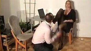Teacher keeps distracted student after class for footjob