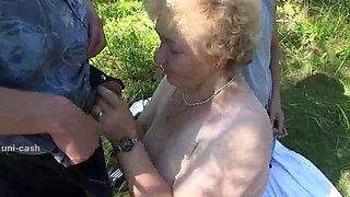 Blonde russian granny fucked in woods