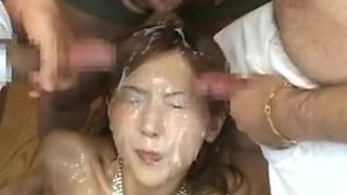 Japanese playgirl overspread in cum