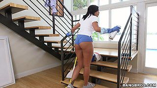 Naughty maid Selena Santana drops her clothes and gives head for money