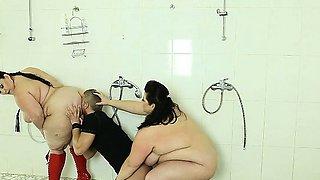 A voyeur boy humiliated and cruelly punished by 2 BBWs