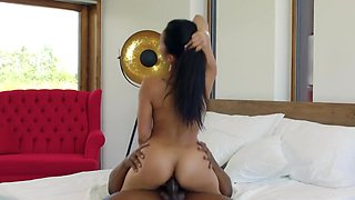 May Thai in Oiled Asian Girl Takes A Black Mans Penis Up To Balls In An Elast