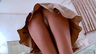 Amateur Massages her Boobs and Shows her Panties Upskirt