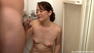 Horny Japanese MILF Kurino Youko spreads her legs to ride a dick