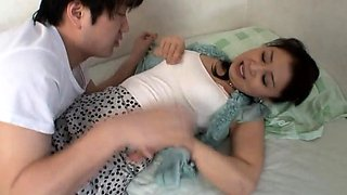 Bodacious Japanese housewife cums hard on a young dick