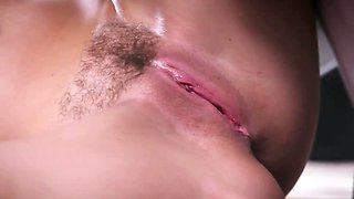 Beautiful secretary fucked in hairy pussy by boss in the office