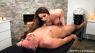 busty masseuse pleases her clients with an excellent footjob