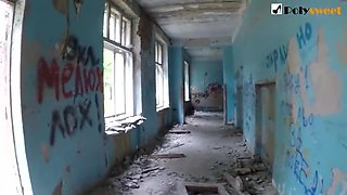 Russian Student Publicly Sucks and Fucks in an Abandoned School (English Subtitles)