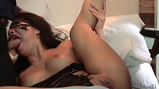 Masked Asian and two strangers have a crazy threesome
