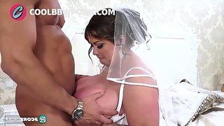 Busty brunette bride fucking