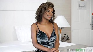Gorgeous black babe with a beautiful smile and big tits, Lola Chanel likes to have interracial sex