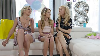 Two lesbian cougars fuck barely legal teen Scarlett Sage