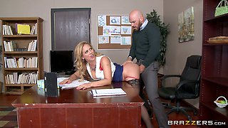 Dude plays with fire when he fucks the boss's wife on his desk