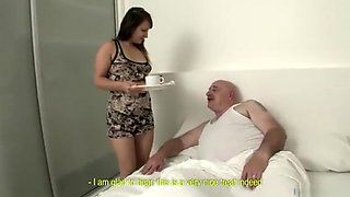 Chubby dad who wants to fuck with his maid