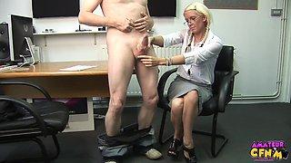 Blonde secretary Krystal Niles gives her boss a handjob in the office