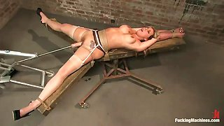 horny blondes soaks the entire scene cumming with a machine