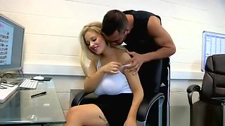 katie james  hot blonde in the office
