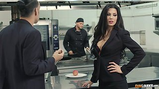Brutal chef is fucking Alexa Tomas's pussy right on the kitchen table