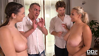 Foursome with big tits