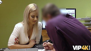 VIP4K. Naughty babe Nathaly gives her shaved pussy to loan